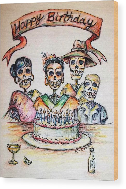 Greeting Cards Wood Print featuring the painting Happy Birthday Woman Skull by Heather Calderon