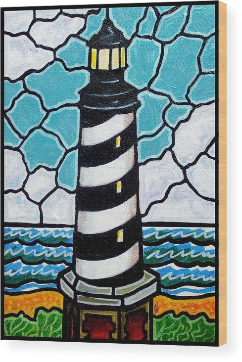 Lighthouse Wood Print featuring the painting Hatteras Island Lighthouse by Jim Harris