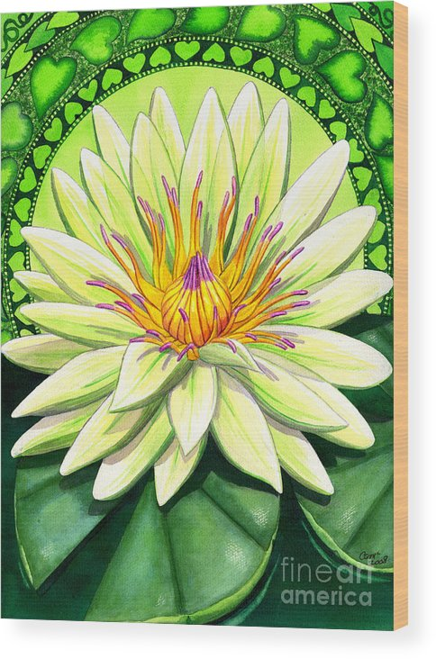 Heart Wood Print featuring the painting Heart Chakra by Catherine G McElroy