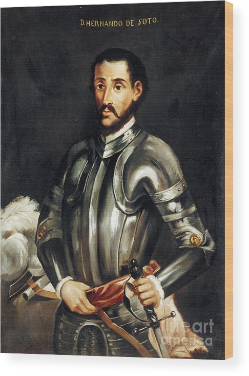 16th Century Wood Print featuring the painting Hernando De Soto by Granger