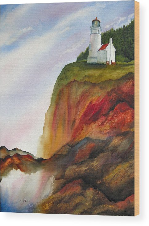 Coastal Wood Print featuring the painting High Ground by Karen Stark