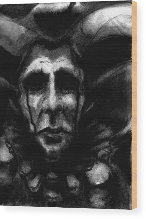 Jester Wood Print featuring the drawing Hindsight by Ian MacQueen