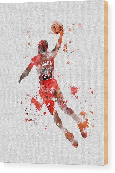 Michael Jordan Wood Print featuring the mixed media His Airness by My Inspiration