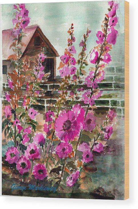 Flowers Wood Print featuring the print Hollyhock Barn by George Markiewicz