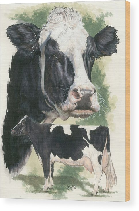 Cow Wood Print featuring the mixed media Holstein by Barbara Keith