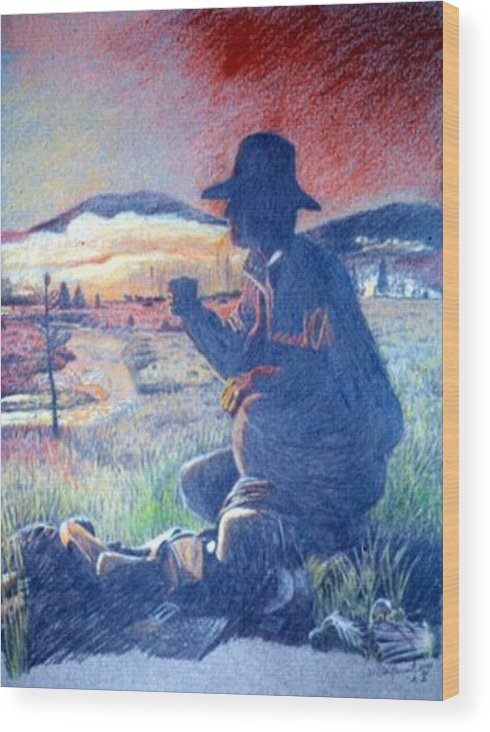 Cowboy Wood Print featuring the drawing Home On The Range by Dan Hausel