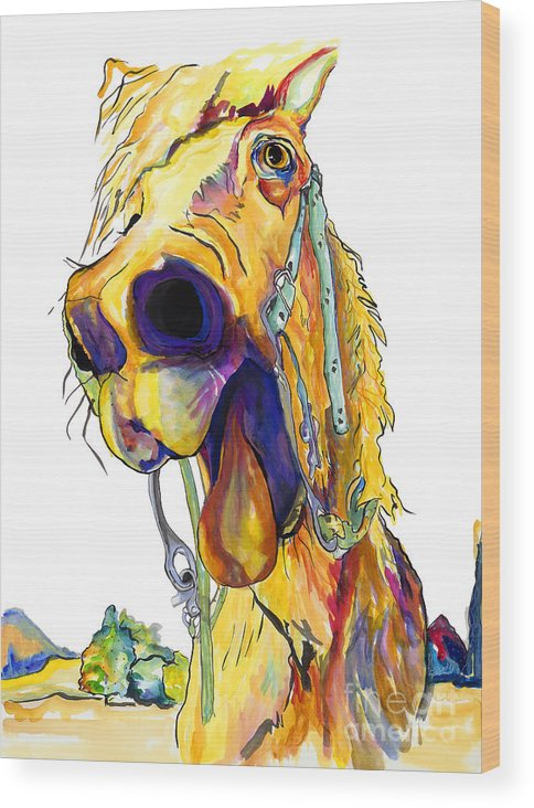 Animal Painting Wood Print featuring the painting Horsing Around by Pat Saunders-White