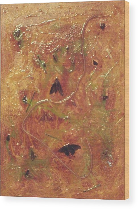Insects Wood Print featuring the painting Hostile Takeover II by Ofelia Uz