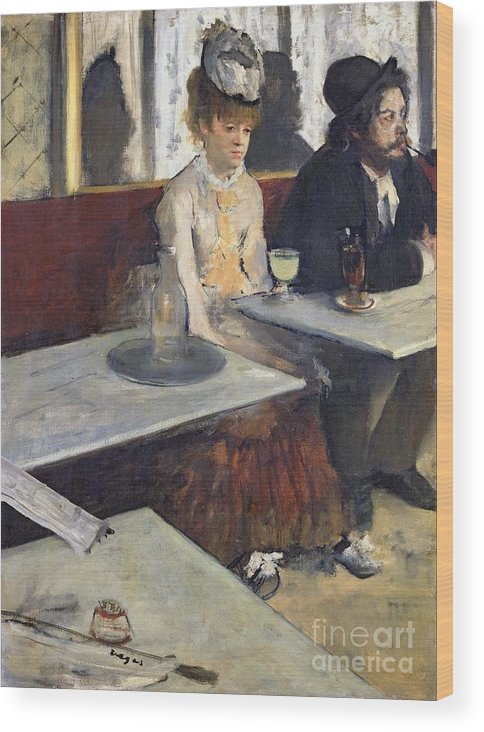 In A Cafe Wood Print featuring the painting In A Cafe by Edgar Degas