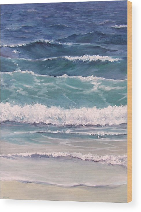 Ocean Wood Print featuring the painting Incoming Tide by Michel McNinch