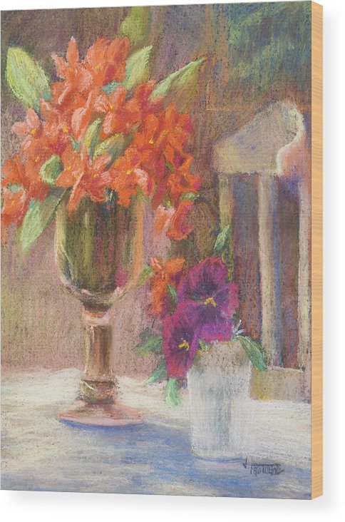 Still Life Wood Print featuring the painting Indian Hawthorn With Pansys by Jimmie Trotter
