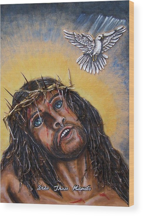 Bible Wood Print featuring the painting Into Thou Hands by Lilly King