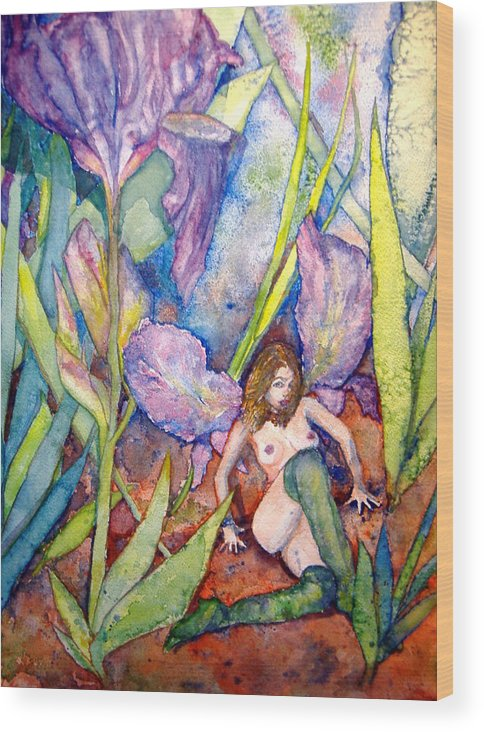 Faerie Wood Print featuring the painting Iris Grantor Of Hope Wisdom And Inspiration - Watercolor by Donna Hanna