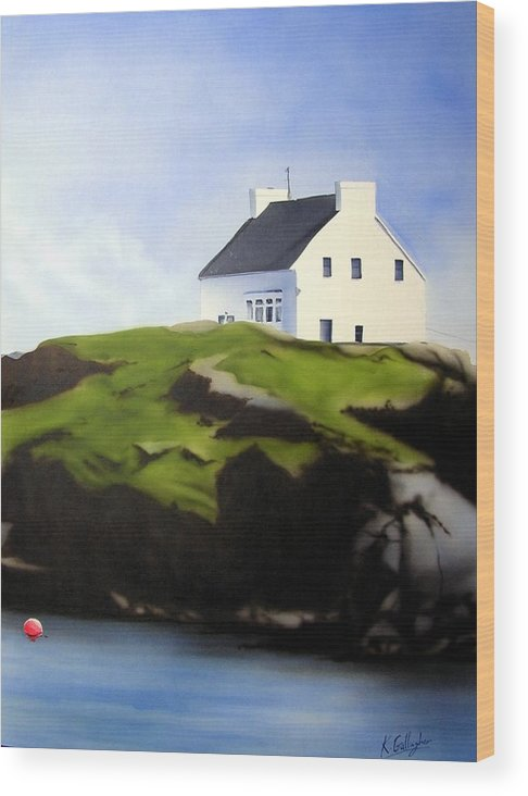 Island Ireland Donegal Wood Print featuring the painting Island House by Kevin Gallagher