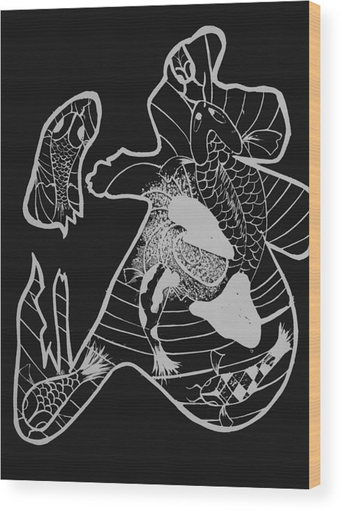 Koi Fish Wood Print featuring the relief Japanese Character by Emily Kemp