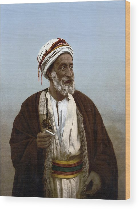 Photograph Wood Print featuring the photograph Jerusalem - Sheik Of Palestinian Village by Munir Alawi