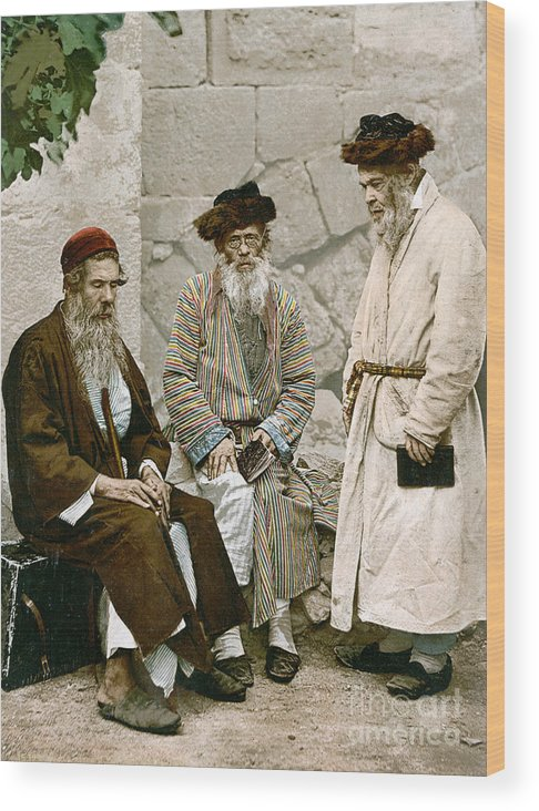 1900 Wood Print featuring the photograph Jews In Jerusalem, C1900 by Granger