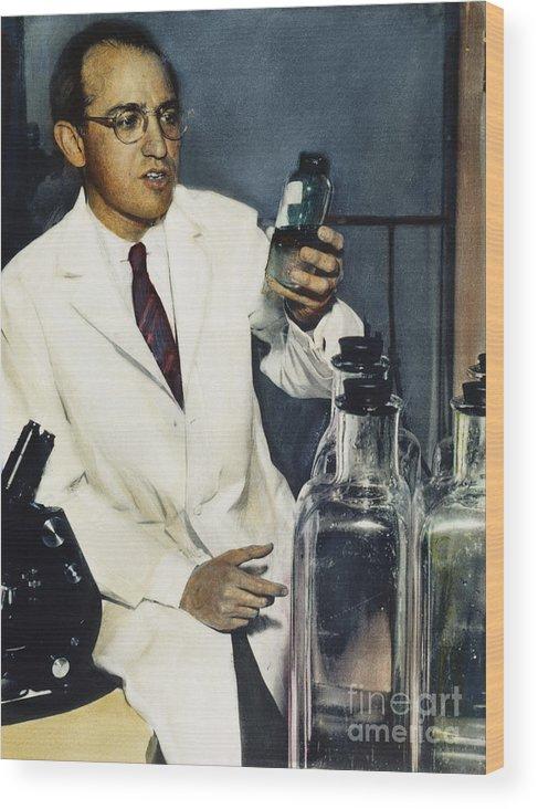 1950s Wood Print featuring the photograph Jonas Salk (1914-1995) by Granger