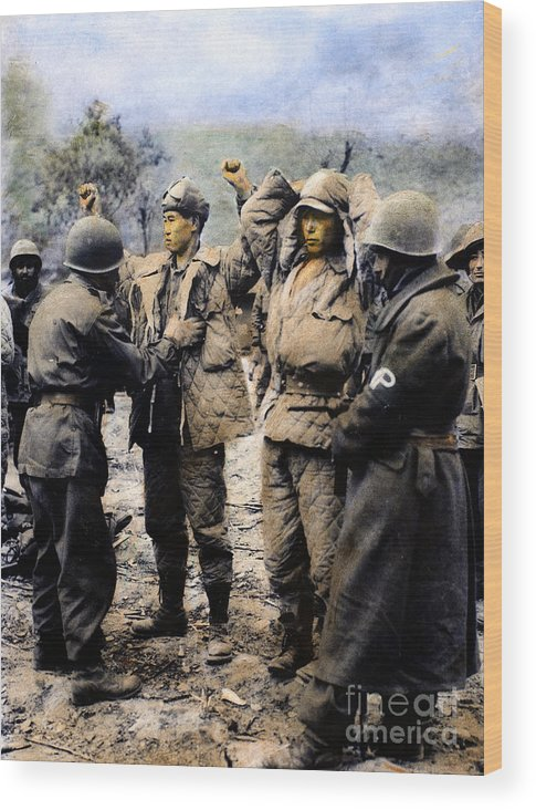 1950 Wood Print featuring the photograph Korean War: Prisoners by Granger