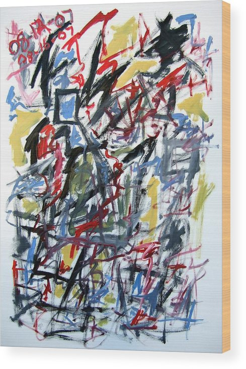 Abstract Wood Print featuring the painting Large Abstract No. 5 by Michael Henderson