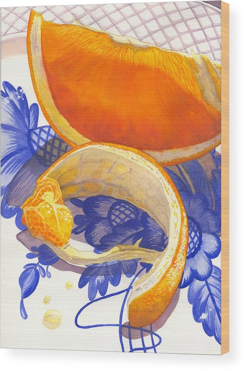 Orange Wood Print featuring the painting Last Piece by Catherine G McElroy