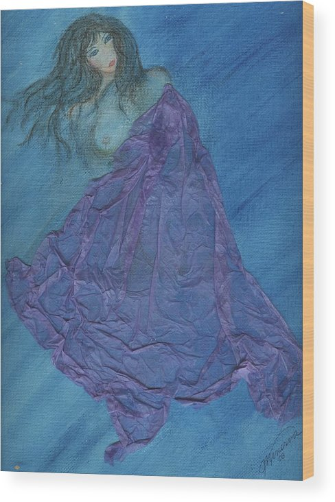 Mixed Media Wood Print featuring the painting Lavender Passion by Cathy Minerva