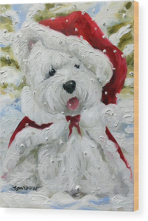 Let It Snow Wood Print featuring the painting Let It Snow by Mary Sparrow