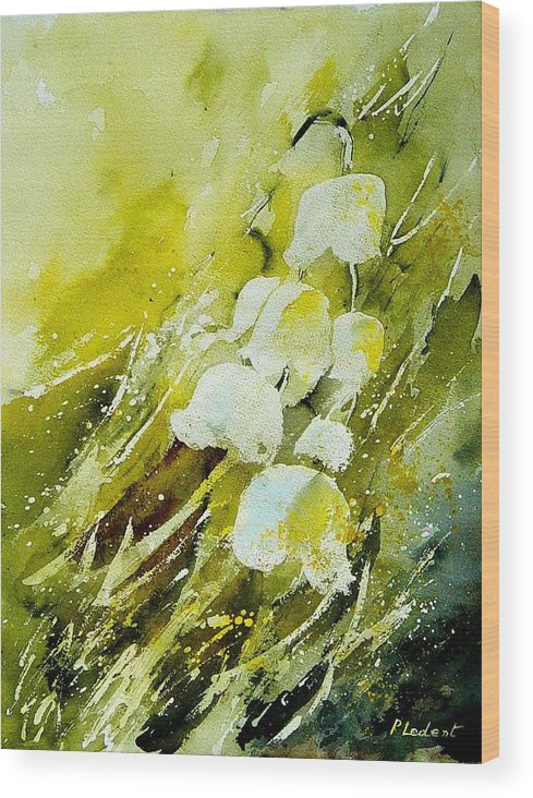 Flowers Wood Print featuring the painting Lilly Of The Valley by Pol Ledent