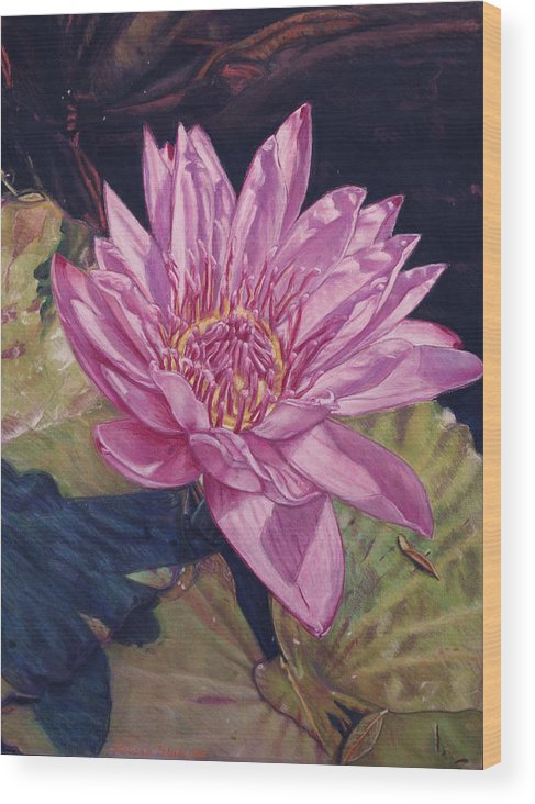 Floral Wood Print featuring the painting Lily And Her Shadow by Melissa Tobia