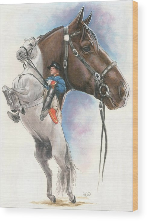 Spanish Riding School Wood Print featuring the mixed media Lippizaner by Barbara Keith