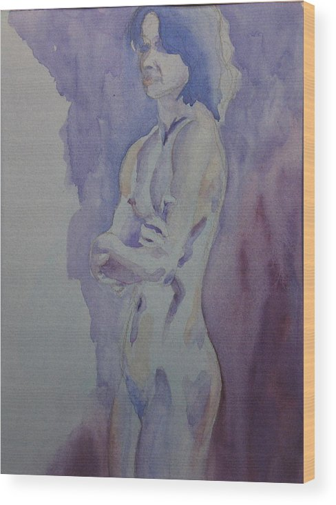 Female Nude Standing Wood Print featuring the painting LMD by Ken Daugherty