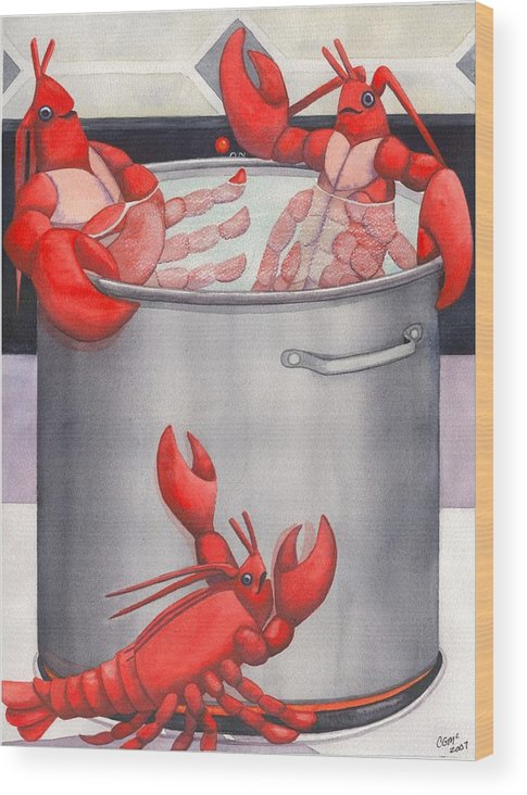 Lobsters Wood Print featuring the painting Lobster Spa by Catherine G McElroy