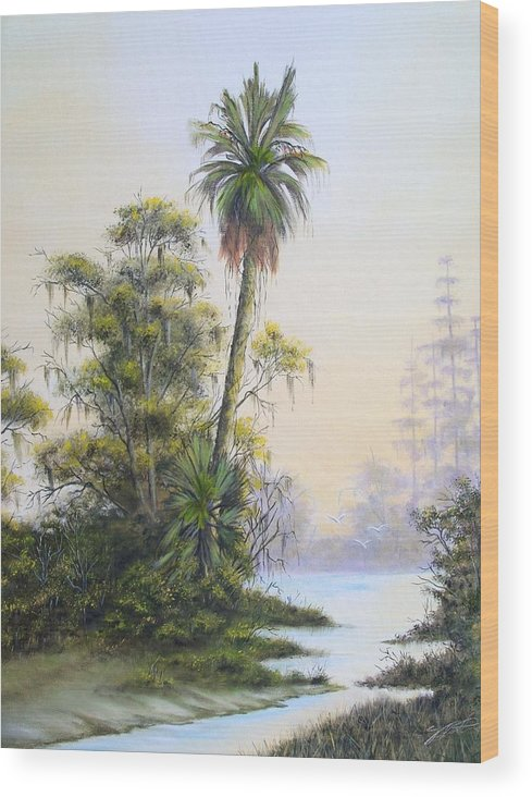 Landscape Wood Print featuring the painting Lonesome Palm by Dennis Vebert