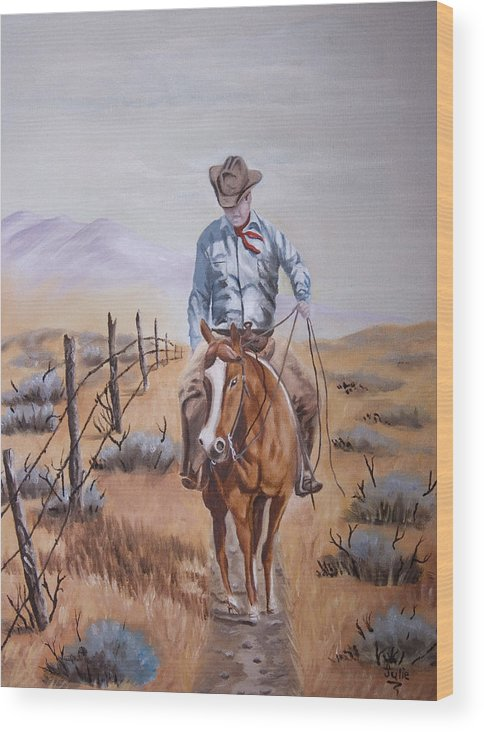 Cowboy Wood Print featuring the painting Lonesome Trail by Julie Gerber