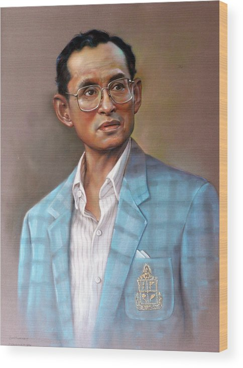 Pastel.portrait Wood Print featuring the painting Long Live The King by Chonkhet Phanwichien