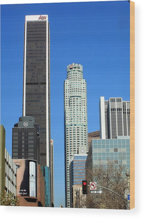 Downtown Wood Print featuring the photograph Los Angeles 0585 by Edward Ruth