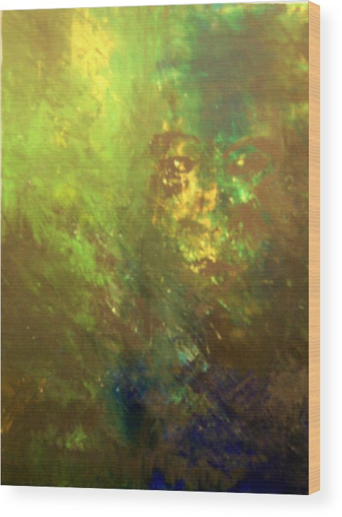 Abstract Wood Print featuring the painting Lost Soul Or In The Garden by DeLa Hayes Coward