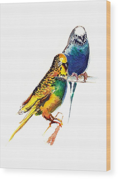 Nature Wood Print featuring the painting Love Birds by Anil Nene