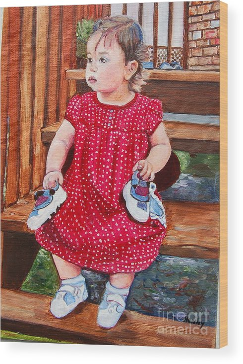 Portrait Painting Wood Print featuring the painting Ma Shooooze by Henny Dagenais