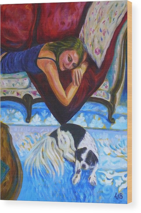 Girl Wood Print featuring the painting Maddy With Momo by Linda J Bean