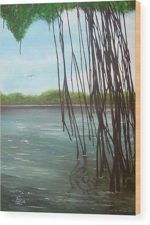 Seascapes Wood Print featuring the painting Mangroves by Tony Rodriguez