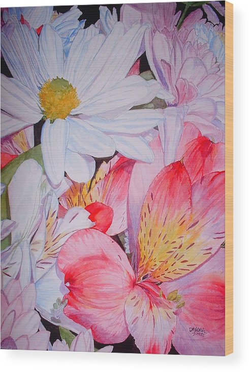 Garden Wood Print featuring the painting Market Flowers - Watercolor by Donna Hanna