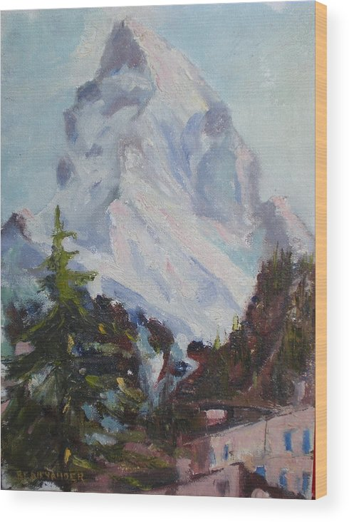 Switzerland Historic Climbing Mountain Wood Print featuring the painting Matterhorn At 8 Pm by Bryan Alexander
