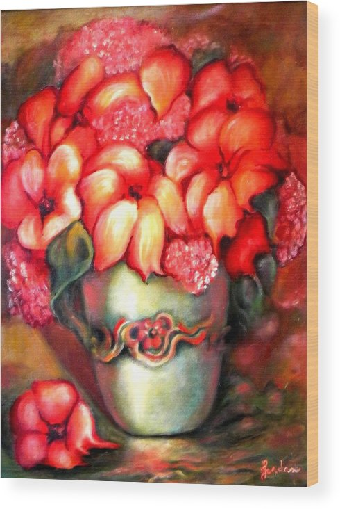 Orange Flowers Artwork Wood Print featuring the painting Mexican Flowers by Jordana Sands