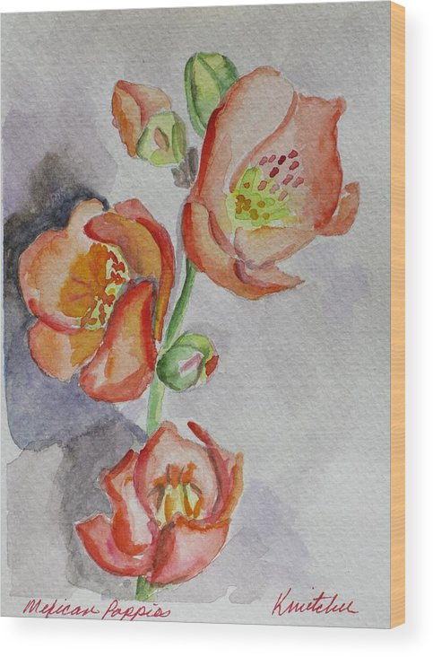 Floral Wood Print featuring the painting Mexican Poppies by Kathy Mitchell
