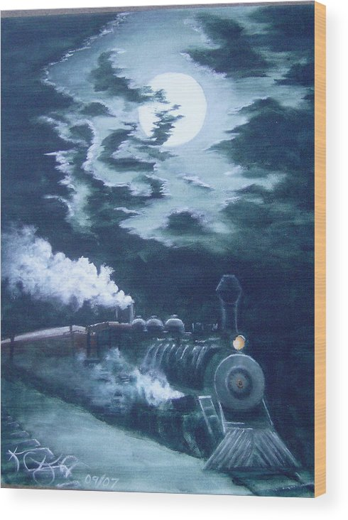 Landscape Wood Print featuring the painting Midnight Train by KC Knight