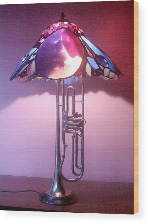 Lamp Wood Print featuring the glass art Miles Davis Lamp by Greg Gierlowski
