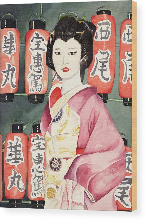 Geisha In Kimono With Red Lanterns Wood Print featuring the painting Miss Hanamaru At Osaka Festival by Judy Swerlick