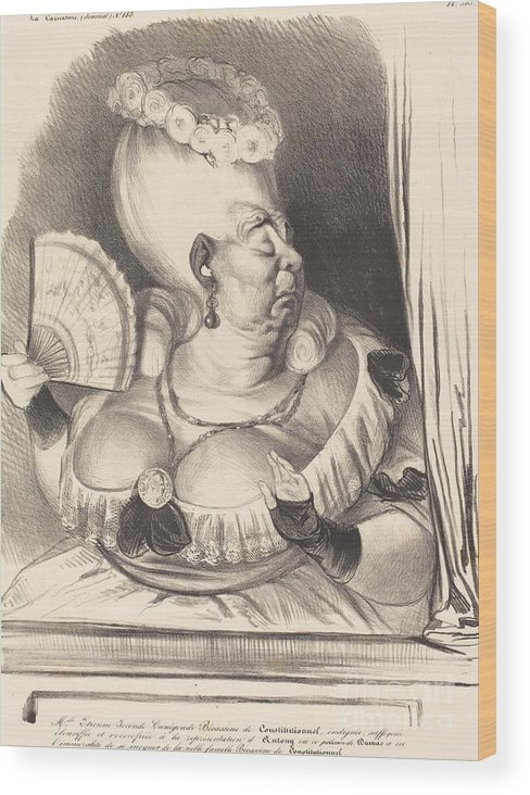 Wood Print featuring the drawing Mlle. Etienne-goconde-cun?gonde-b?cassine by Honor? Daumier