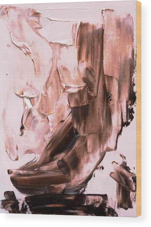 Brown Wood Print featuring the painting Monument To The Death Of Forests by Bruce Combs - REACH BEYOND